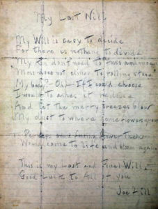 Joe Hill's Last Will