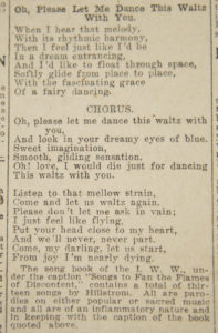"""Oh Please Let Me Dance This Waltz with You,"" by Joe Hill. Published June 21, 1914, Salt Lake Tribune. Image Jeremy Harmon, The Salt Lake Tribune. Used by permission."
