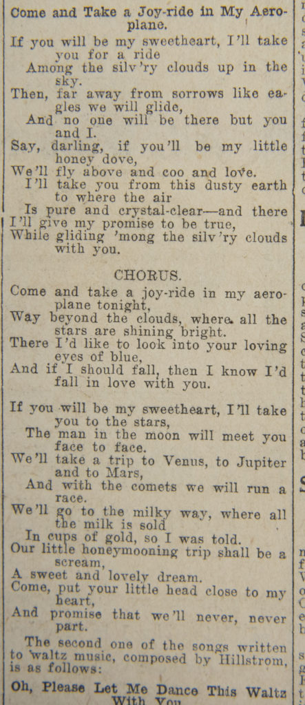 """Come and Take a Joy-ride in My Aeroplane,"" by Joe Hill. Published June 21, 1914, Salt Lake Tribune. Image Jeremy Harmon, The Salt Lake Tribune. Used by permission."